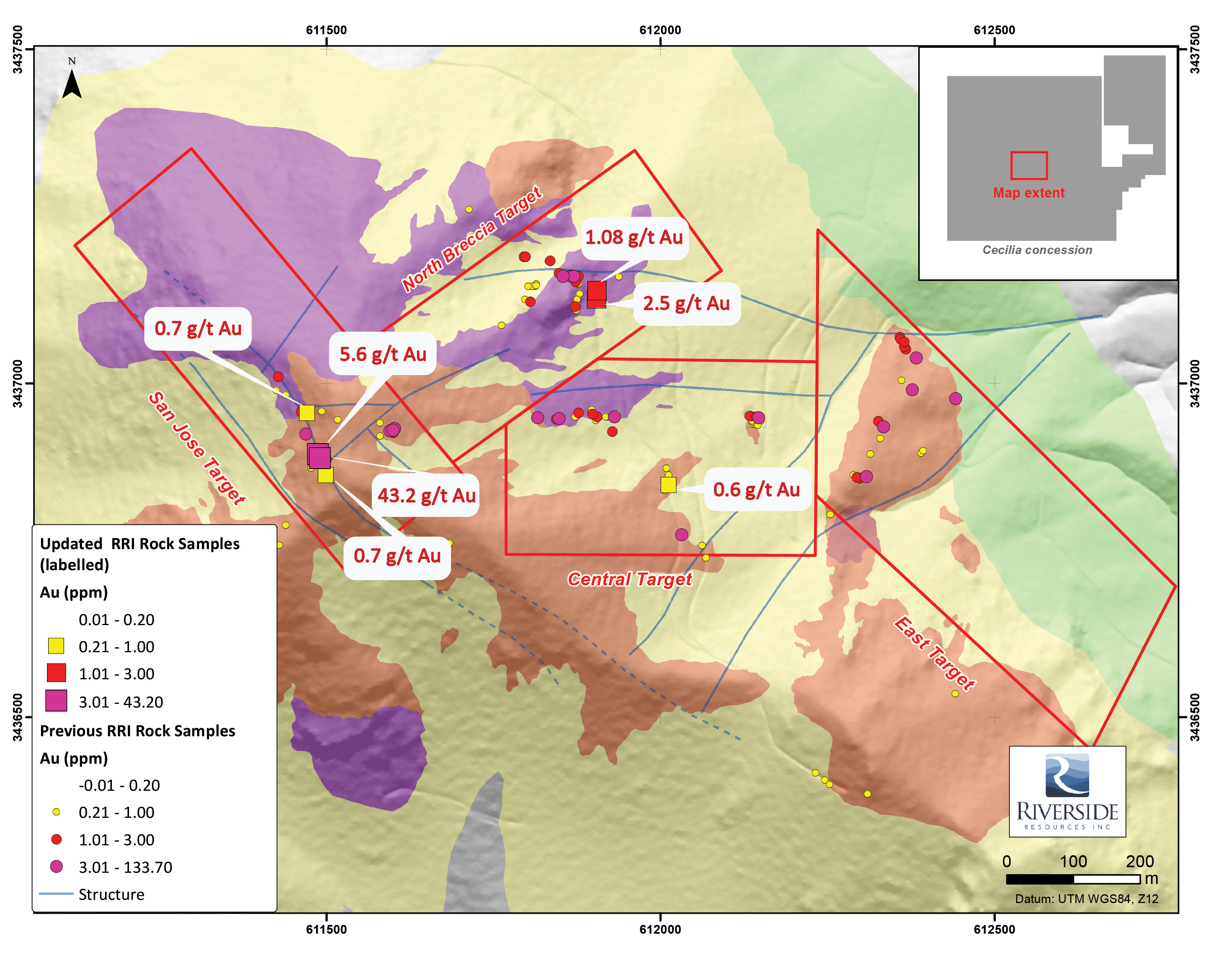 figure 1 simplified geological map including recent rri channel sampling